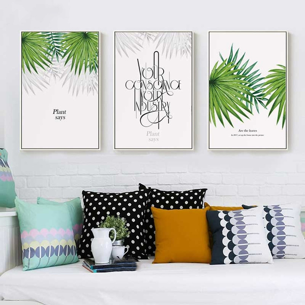 Wall Painting Canvas Painting Fresh Palm Leaves Nordic Tropical Green Plant Poster Greenery Wall Art Picture Living Room Decoration