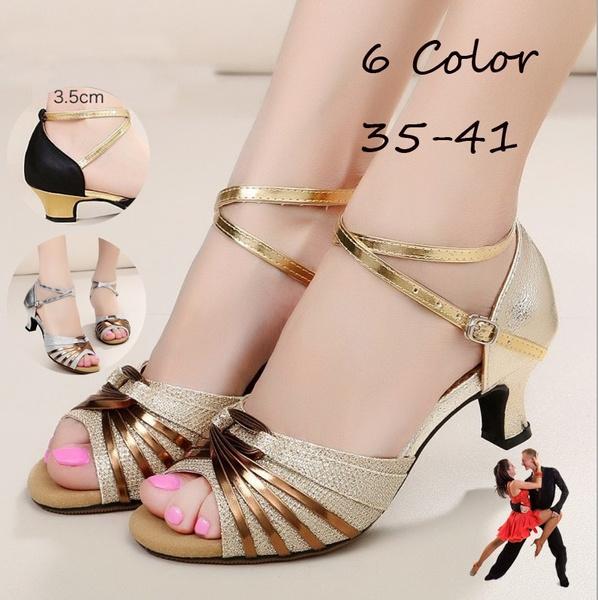 New Latin Dance Shoes Ladies Satin Ballroom Salsa Dance Shoes Heeled 3.5cm//5.5cm