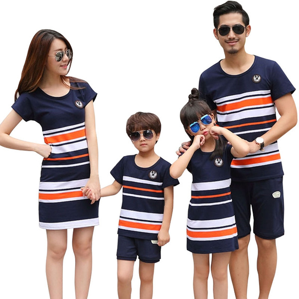 472579084f6af Plus Size Family Matching Outfits 2018 Summer Fashion Striped T ...