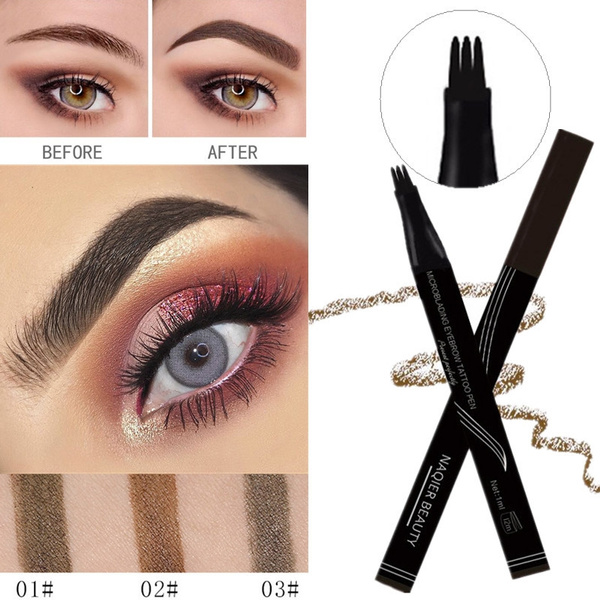 3 Head Eyebrow Tattoo Pencil Wenkbrauw Pen Waterproof Fork Tip Eyebrow Pen