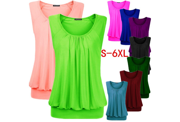Summer Women Sexy Solid Color O-neck Sleeveless Tops Loose Pleated Cotton Blouse Plus Size T Shirt Fashion Casual Tank Tops S-6XL