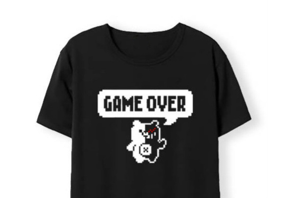 Men Cotton T-shirts DanganRonpa Game Over Short Sleeve Tops Cartoon Komaeda  Nagito Cosplay Tees