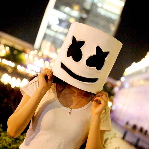 MarshMello DJ Mask Full Head Helmet Halloween Cos Party Bar Dress Props Unisex