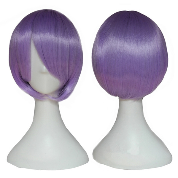 new arrival Cosplay Wig Purple Short Straight Anime cos Hair ombre wigs