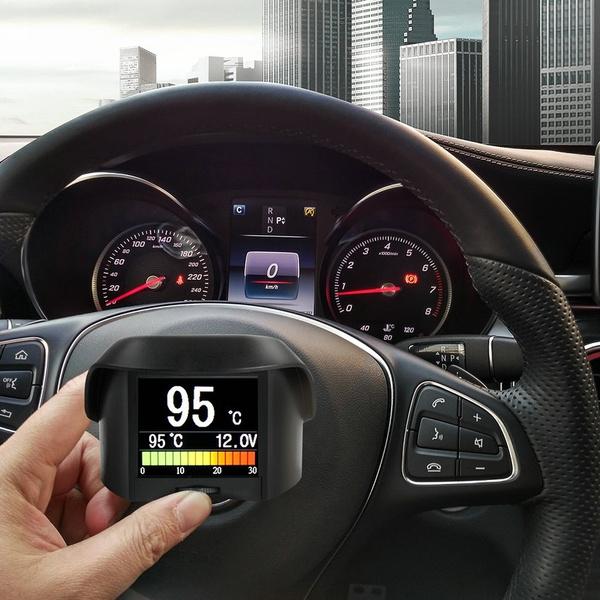 A202 Multi-Function Car OBD Smart Digital meter + Alarm Fault code Water  temperature gauge digital voltage speed meter display