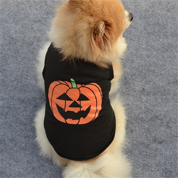 Pet Dog Cat Pumpkin Halloween Apparel Costumes Dog Cotton Shirts Puppy ClothesB