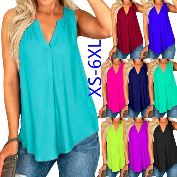 Womens Summer Tank Vest Tunic Tops Sleeveless Casual Loose Solid Blouses Shirt