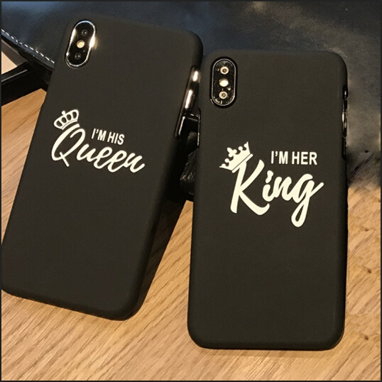 best website e5c6b bea1b I m her King & I m his Queen Couple Case For iPhone6/6s 6/6splus 7/8  7/8plus X Phone Cases Covers Shell Coque Fundas Capinha for IPhone