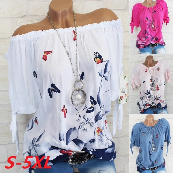 blouse, Summer, off shoulder top, Plus Size