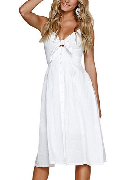 Kleid a linie knielang v ausschnitt