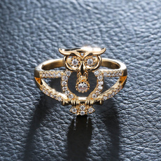 Owl, Fashion, wedding ring, gold
