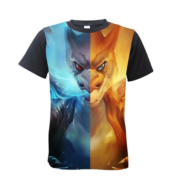 c2eb1ea73 New Fashion Tops Tees pokemo Mega Charizard Split 3d Printed Short Sleeve  Men women Unisex pokemo T shirt | Wish