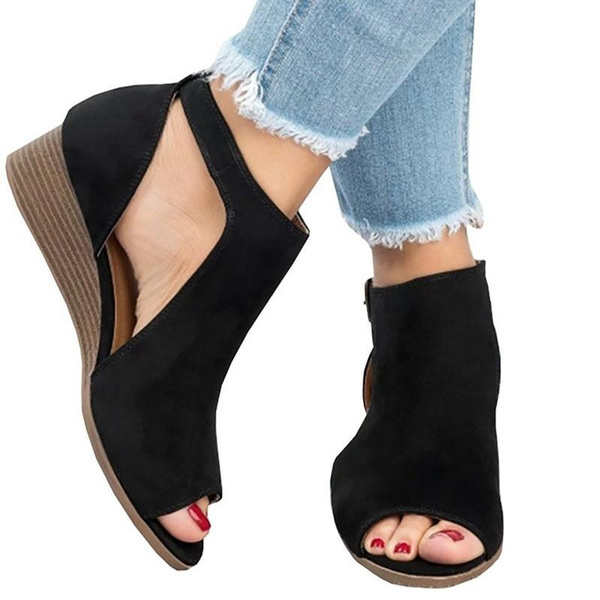 MID HEEL ANKLE BOOTS WITH CUT OUT DETAIL SHOES WOMAN SHOES