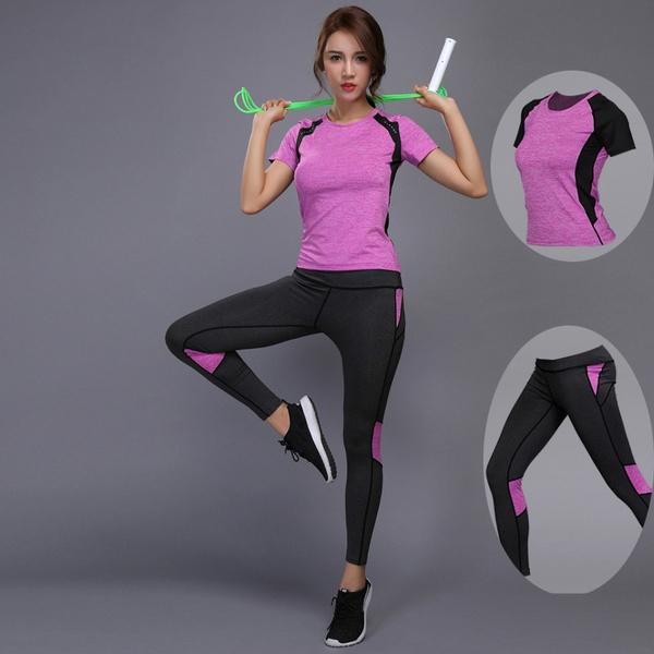 f7e0464129b91 Women Yoga Set Gym Fitness Clothes Tennis Shirt+Pants Running Tights ...