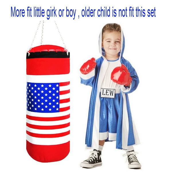 Children Boxing Toy Set Champion Punching Bag And Pair Of Soft Padded Gloves Uas Flag Sports Physical Training Extra Large 17 5 Inch Tall 6