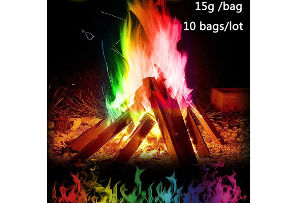 Colorful Flames Powder Creat Magical Fire On your Campfire Outdoor Party Flame Dye- 10 bags