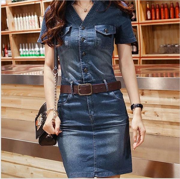 bf05aaaec7f 2019 Women Sexy V Neck Button Knee Length Vintage Mini Denim Dress ...