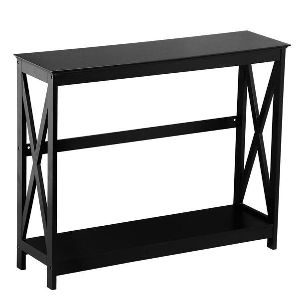 Wish 2 Tier X Design Occasional Console Sofa Side Table Bookshelf