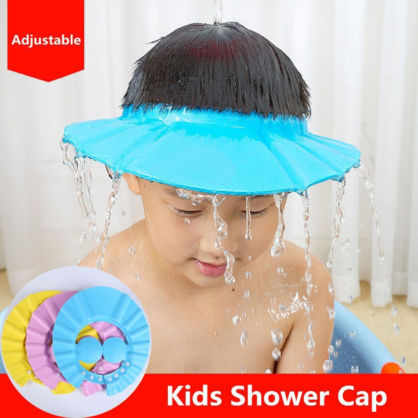 Baby Kid Shampoo Bathing Shower Cap Visor Wash Hair Shield Hat with Ear Cover