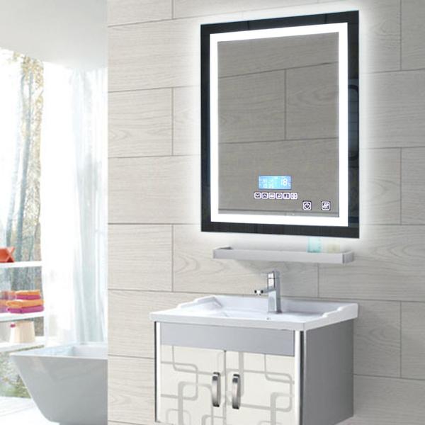 Mode Décoration Salle De Bains LED Miroir Murale Carré Illuminé Allumé  Vanité Miroir Bouton Tactile Miroir Stickers Muraux Decal Accueil DIY Art