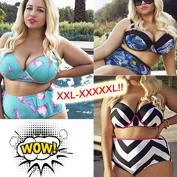 Fashion Swimsuit Plus Size Busty Beauty Split Beach Bikini Swimwear ...