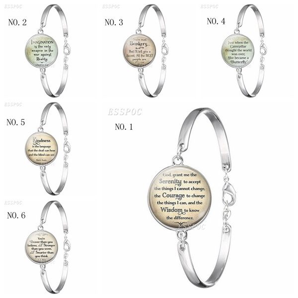 Serenity Prayer Quotes Silver Bangle Glass Cabochon Inspirational Jewelry  Bracelet Literary Quote Charm Bracelet for Women