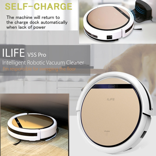 ILIFE V5S Pro Intelligent Robotic Vacuum Cleaner Cordless Dry Wet Sweeping New