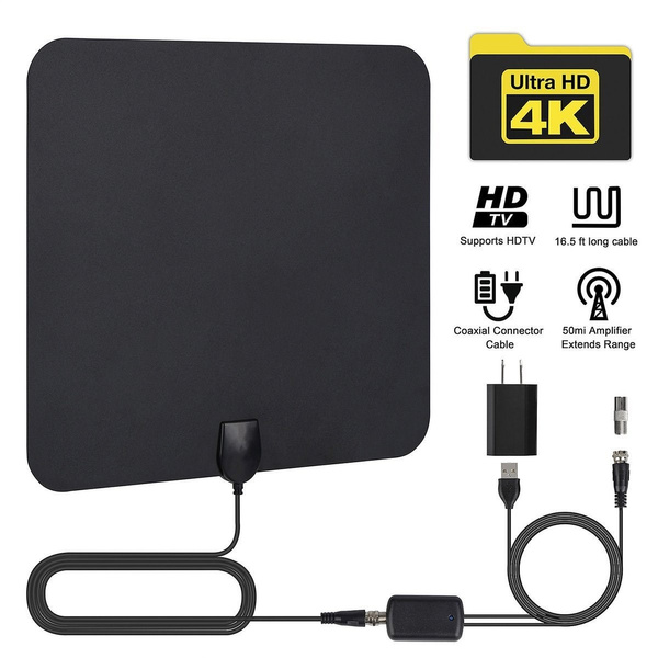 Nice Leadzm S108 50 Miles HD Digital Indoor TV Antenna Black US Plug