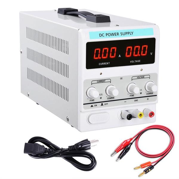 AndYes 110V Input 30V 5A Output Precision Variable Digital DC Power Supply  with Alligator Test Lead Set