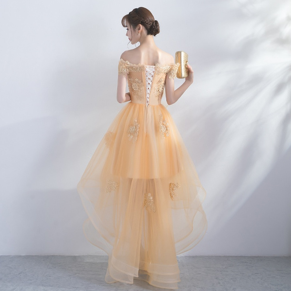 Wish Elegant Gold Tulle Prom Dress Off Shoulder Appliques Short