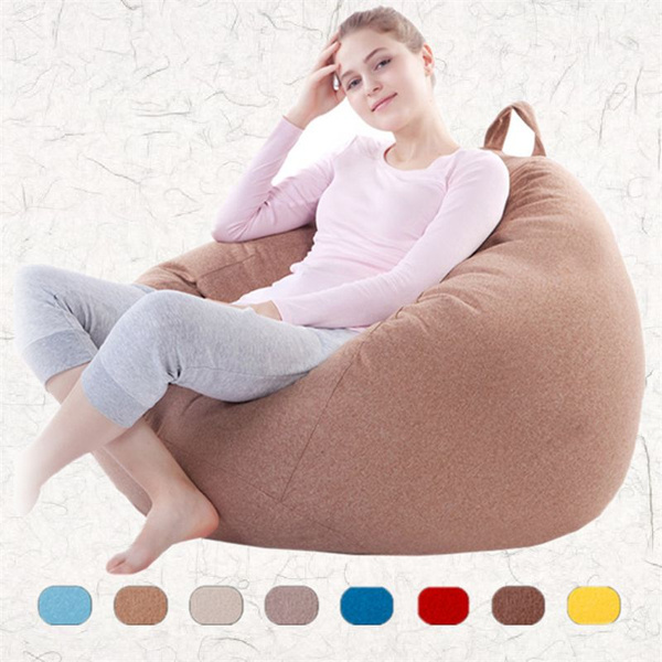 Outstanding Fashion Lazy Lay Bag Solid Color Single Lazy Bean Bag Sofa Cover Living Room Linen Sofa Set Without Filling Caraccident5 Cool Chair Designs And Ideas Caraccident5Info