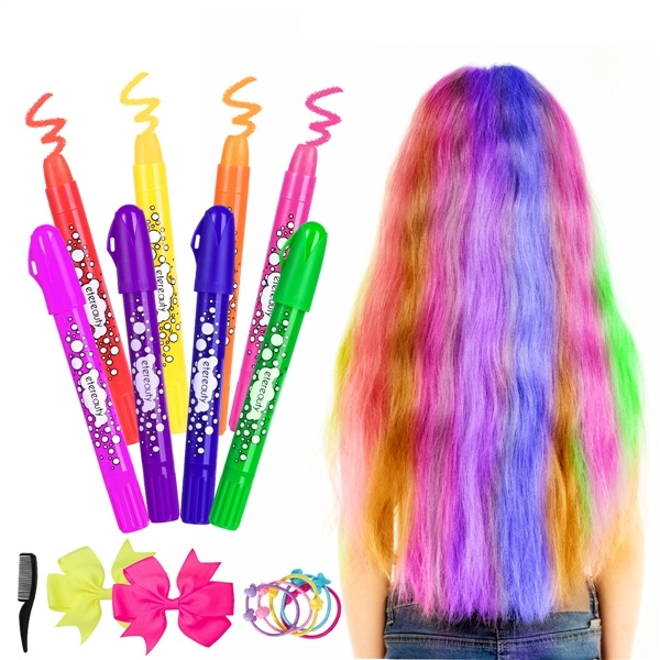 21Pcs/set ETEREAUTY Hair Chalk Set 8 Colors Non Toxic Washable Temporary  Hair Dye Rainbow Hair Color with Bow Hair Tie and Comb for Kids Children