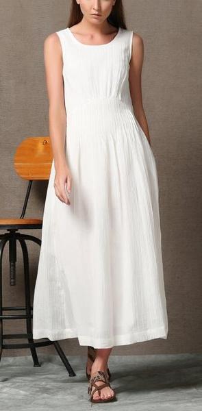 Wish Plus Size White Linen Maxi Elegant Sexy Swing Dress