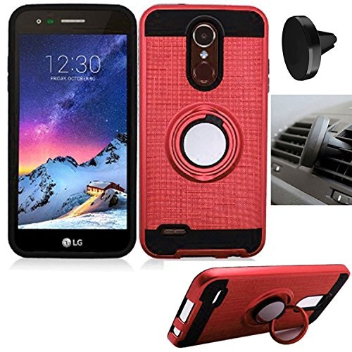 Phone Case for LG Zone-4/LG Fortune-2/LG Risio-3/LG Rebel-3/LG Aristo-2/LG  Tribute Dynasty Air Vent Magnetic Car Holder with Textured Dual-Layered