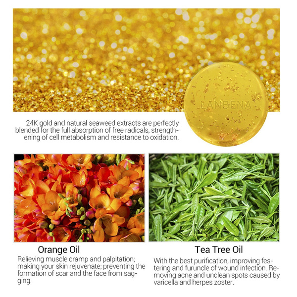 Fashion 24K Gold Nourishes Natural Skin Whitening Handmade Herbal Soap  Healthy Shampoo