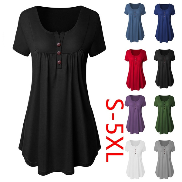 3efa24187b2df Summer Women Fashion Short Sleeves Loose Casual Pleat Tops Blouse ...