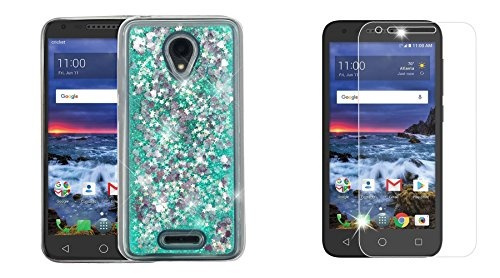 Alcatel Raven LTE A574BL - Bundle: Liquid Quicksand Glitter Waterfall Case  (Aqua Star Hearts), Bubble-Free Tempered Glass Screen Protector, Atom Cloth