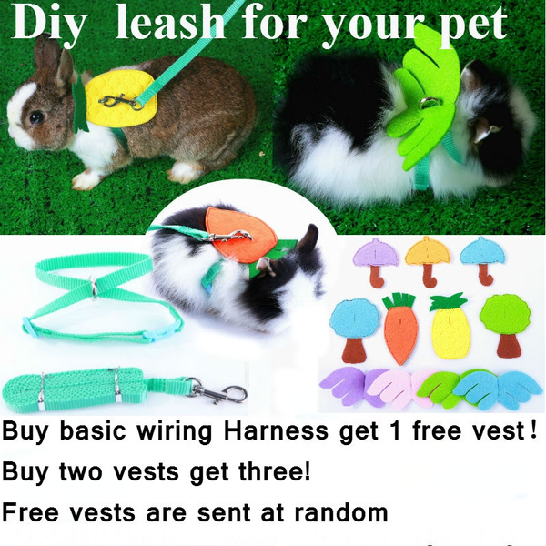 diy pet leash small pet soft wiring harness leash adjustable bunny traction rope for running walking variety of styles pet fashion vest replaceable  rabbit harness wiring #15