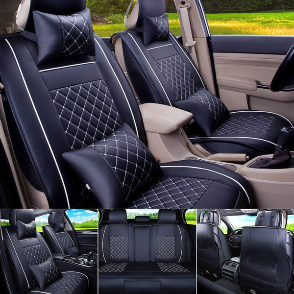 Auto Car Seat Cover Cushion PU Leather Full Set 5-Seats Front /& Rear W//Pillows