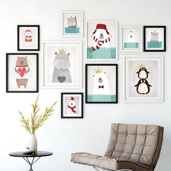 Modern Nordic Kawaii Bear Hippo Bird A4 Animal Prints Art Poster Wall Cartoon Paintings On Canvas Painting Children S Room Decor Room Decor