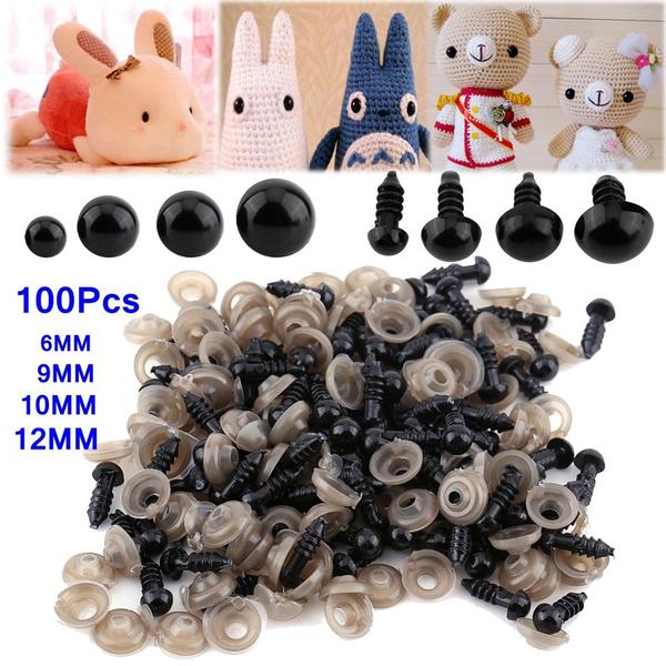 100pcs 6-10mm Plastic Safety Eyes Washers For Teddy Bear Doll Toy Animal Felting
