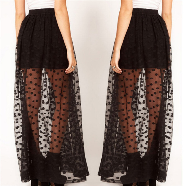 73d7d284cce8 Women High Waist Sheer Gauze Mesh Tulle Lace Dots Gothic Long Maxi ...