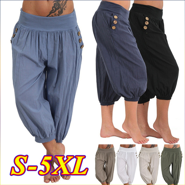 Women S Fashion Elastic Waist Capri Harem Pants Female High Waist Loose Sport Casual Pants Big Size Athletic Yoga Pants Dance Sweatpants Bottom Wish