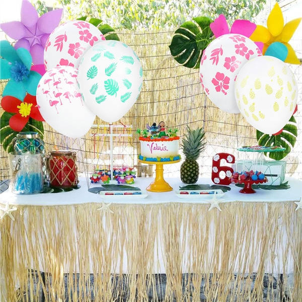 Tinksky 36 Pcs Hawaiian Balloons 12 Inch Leaves Hibiscus Pineapple Flamingo Decorations Balloons For Tropical Summer Party