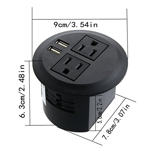 Power Grommet, Desktop Power Outlet 2 US Plugs & 2 USB Ports for Computer,  Desk/Table, Kitchen, Office, Home, Hotel and More
