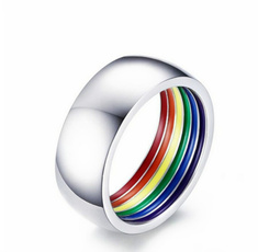 Steel, rainbow, Jewelry, fashion ring