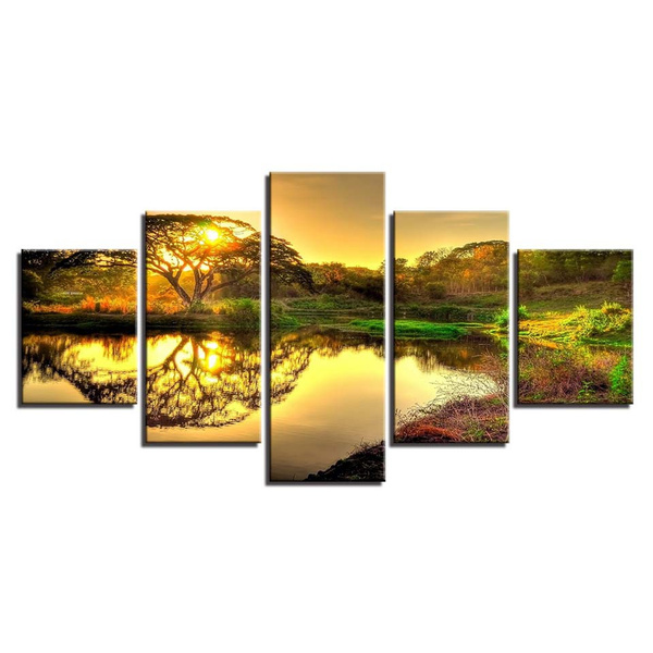 Wish | Canvas Prints Paintings Wall Art Poster 5 Pieces Forest Tree ...