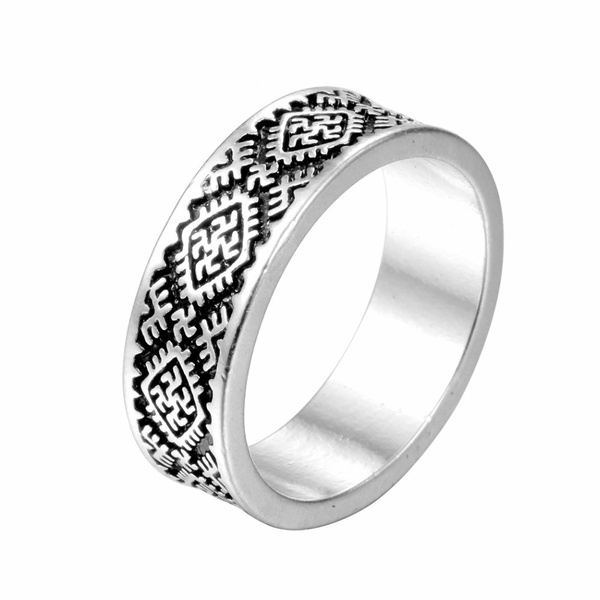 Boy Rings Valknut Odin S Slavic Symbol Of Norse Viking Silver Ring Fern Flower Pagan Amulet Ring Jewelry For Men Gifts