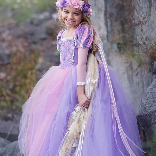 Wish | Kids Girls Princess Cinderella Sofia Rapunzel Dresses Full ...