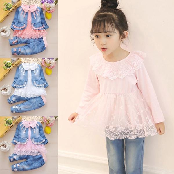 Pants Infant Baby Girls Denim Clothing Set Lace Long Sleeve Shirt+Jeans Jacket
